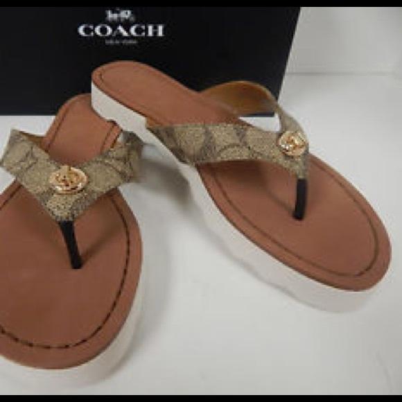 9e771a5a9c81 Coach Shoes - Coach Shelly signature khaki gold flip flops